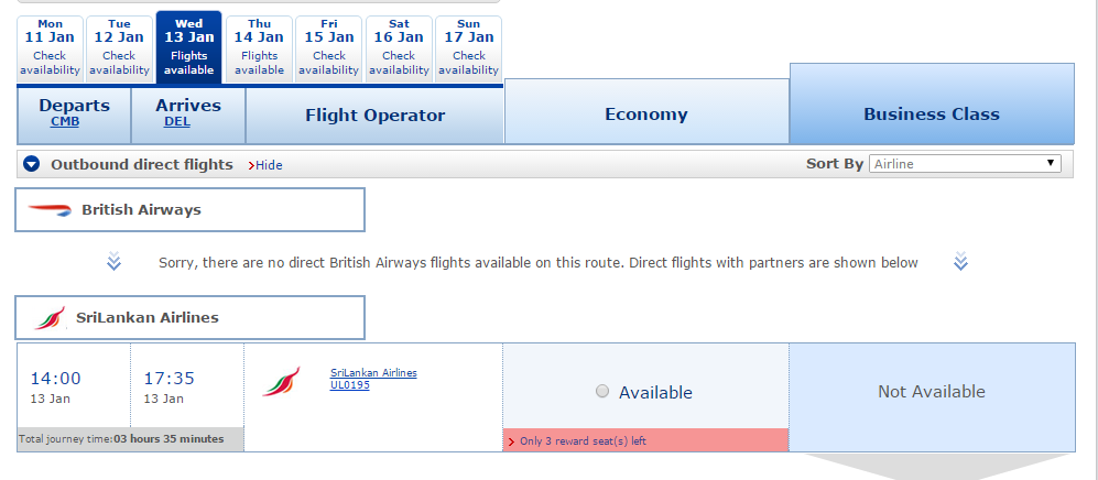 Good Old BA shows us there are flights available right now.