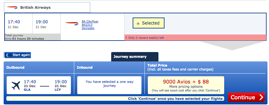 Glasgow to London 9,000 Avios + $88 for 2 people