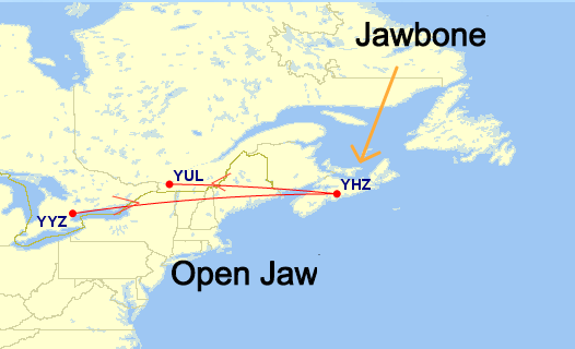 Type 1 - Destination Jawbone. Start in YYZ. Finish YUL.