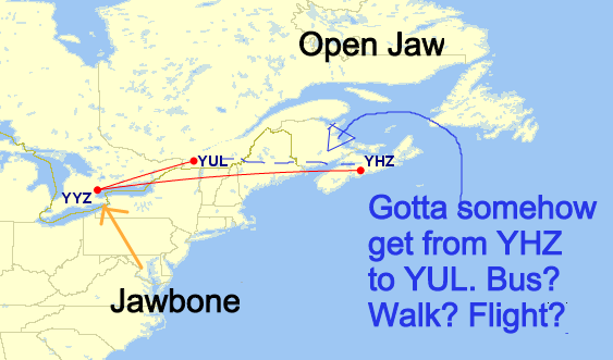 Type 2 - Origin Jawbone. Start in YYZ, finish YYZ.