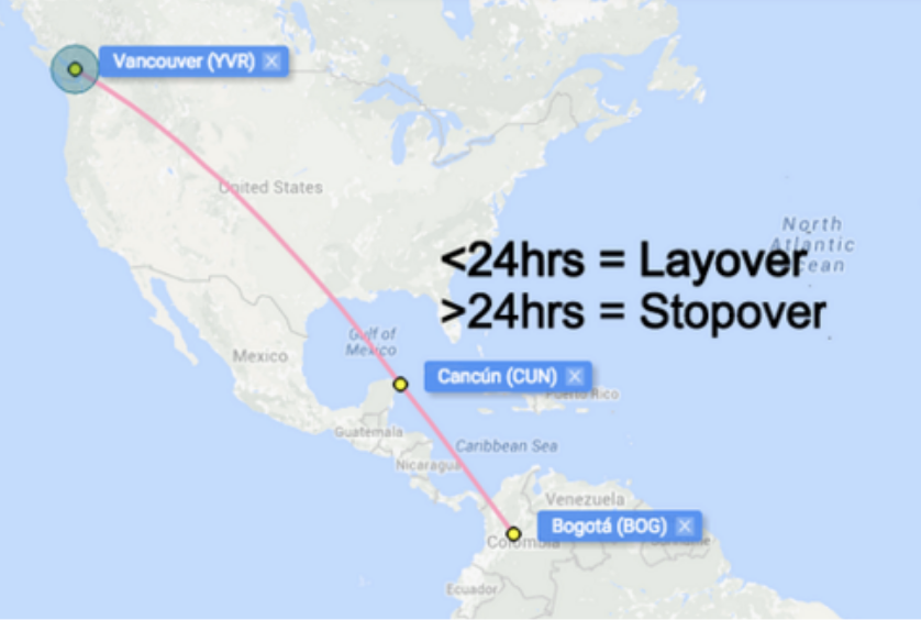 *International flights for this purpose refer to flights from one Aeroplan Region to the next. See the Aeroplan Reward Chart to see the different regions.