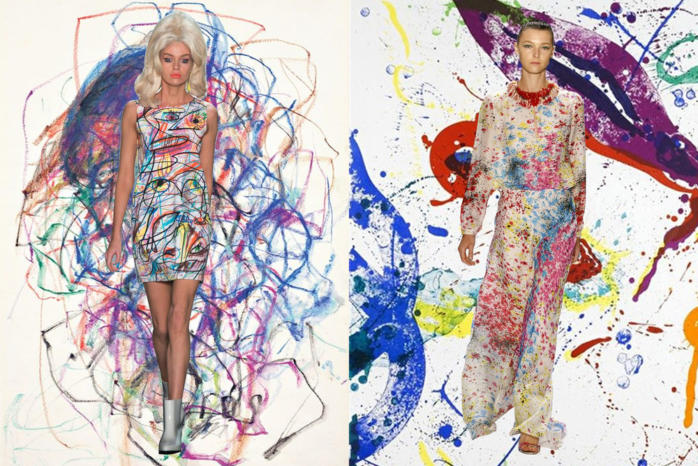left to right: jeremy scott on joan mitchell; monique lhullier on sam francis
