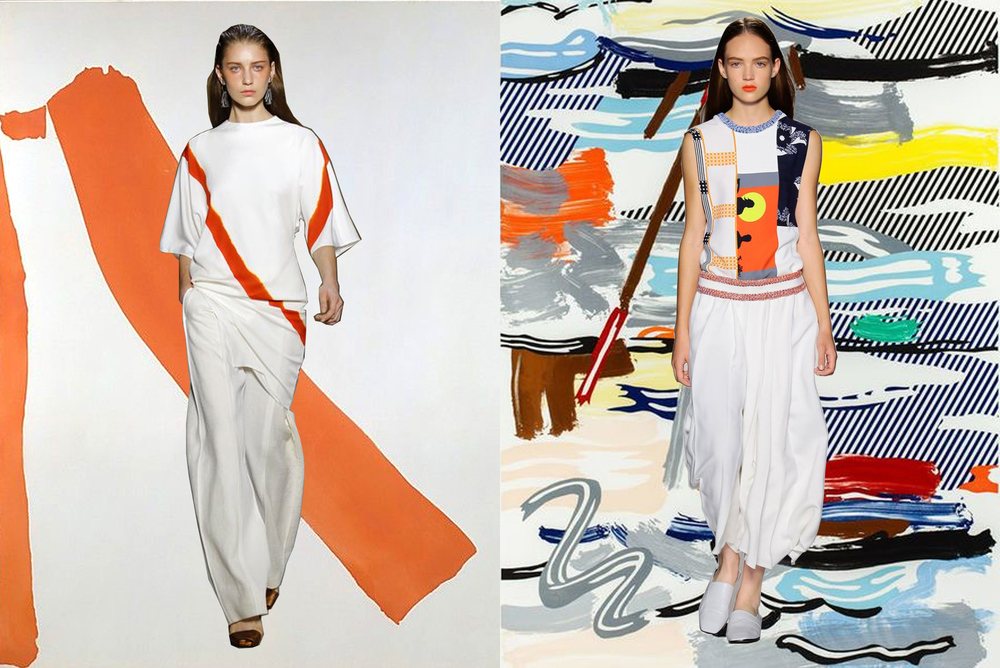 left to right: narciso rodriguez on helen frankenthaler; victoria beckham on roy lichtenstein