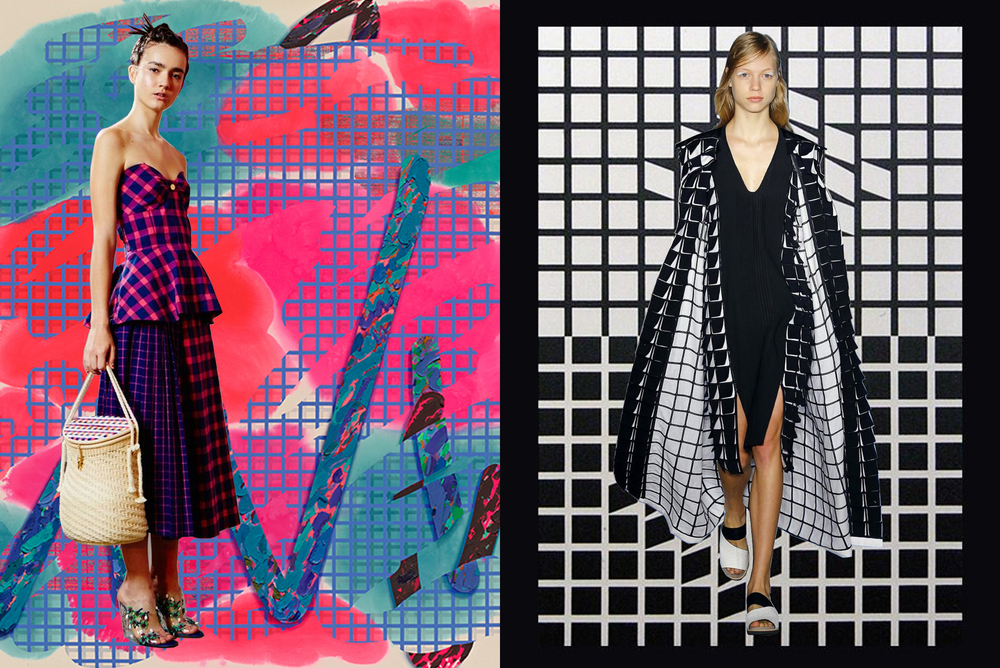 left to right: tanya taylor on laura owens; zero + maria cornejo on victor vasarely