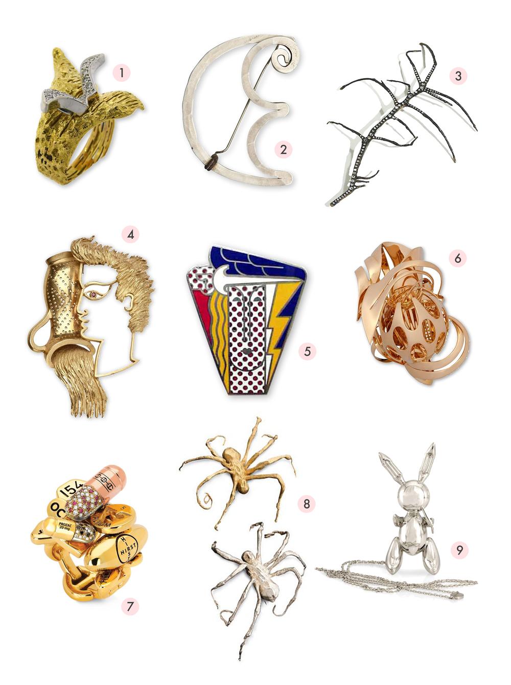 [1] George Braques (1960), [2] Alexander Calder (1957), [3] Michele Oka Doner (2006), [4] Jean Cocteau (1950); [5] Roy Lichtenstein (1968), [6] Frank Stella (2010), [7] Damien Hirst (200?), [8] Louise Bourgeois (1996), [9] Jeff Koons (2005).