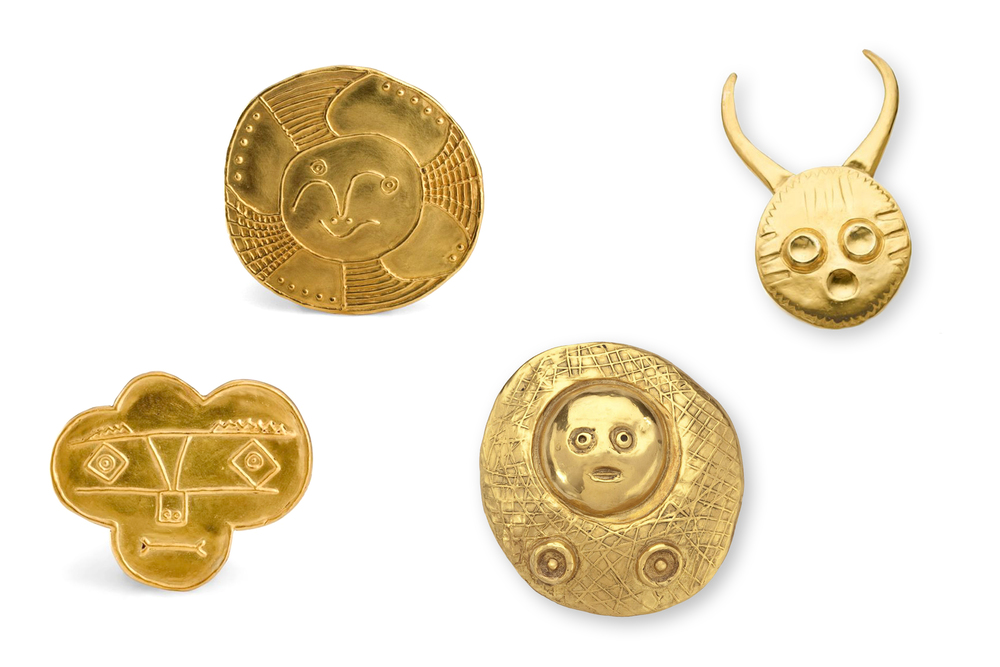 From left to right:  Picasso Trèfle brooch  (unkown),  Picasso Visage rond  (1972),  Ernst Gold pendant  (1959),  Ernst Tete a Comes  (1960).