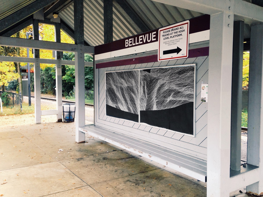 untitled temporary drawing, Bellevue MBTA station