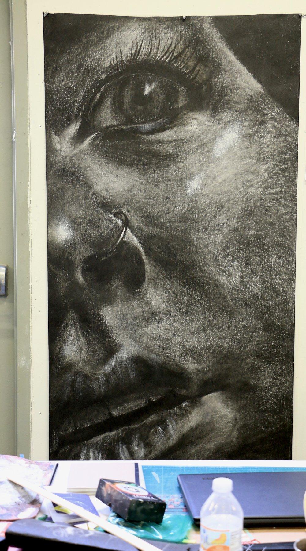 observed self portrait 3' x 6' white chalk on tarpaper