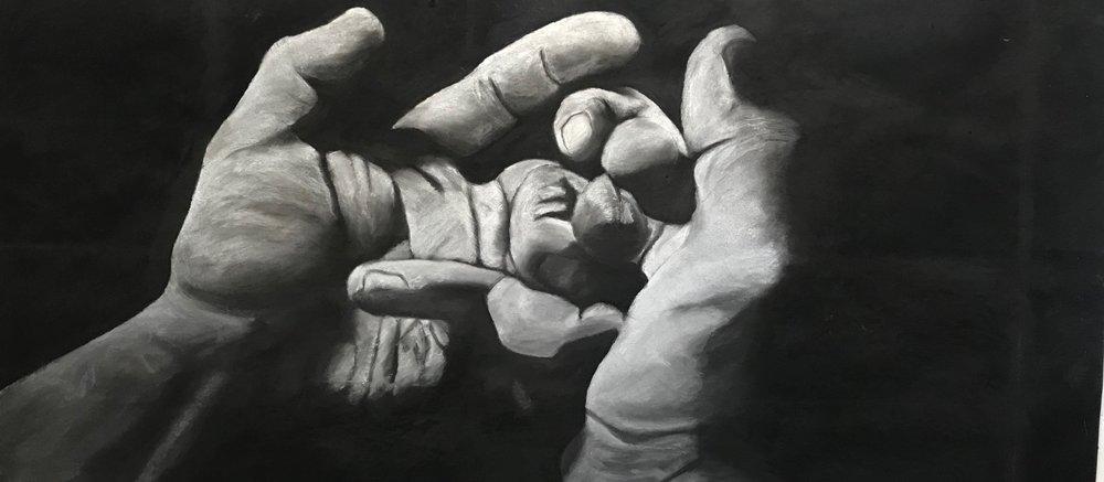 large hand study 3' x 6' white chalk on tarpaper