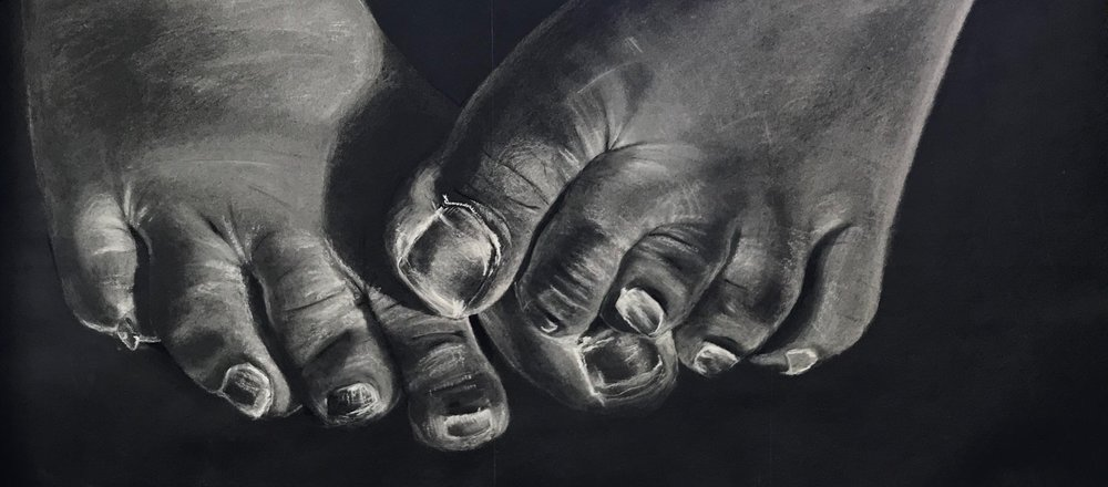 large foot study 3' x 6' white chalk on tarpaper