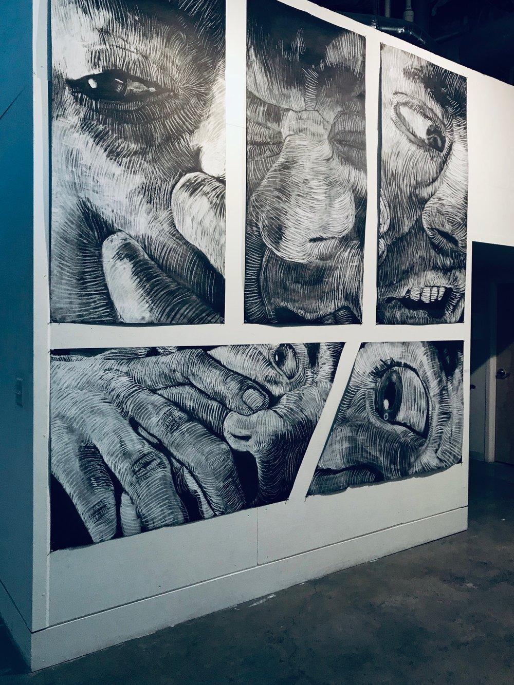 narrative self portrait series- each  3' x 6' white chalk on tarpaper