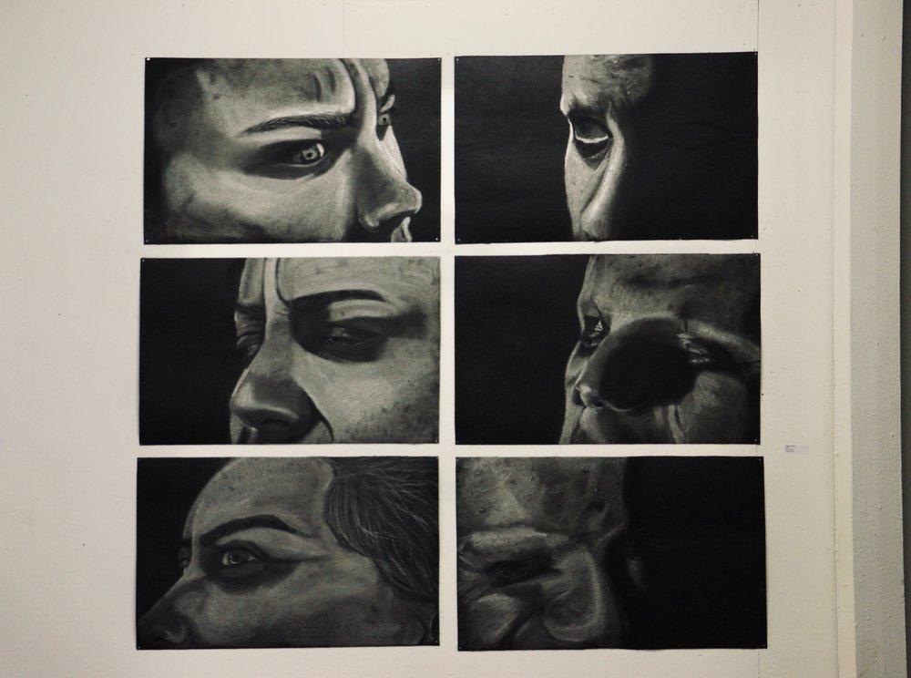 narrative peer portraits each 20'' x 36''  white chalk on tarpaper