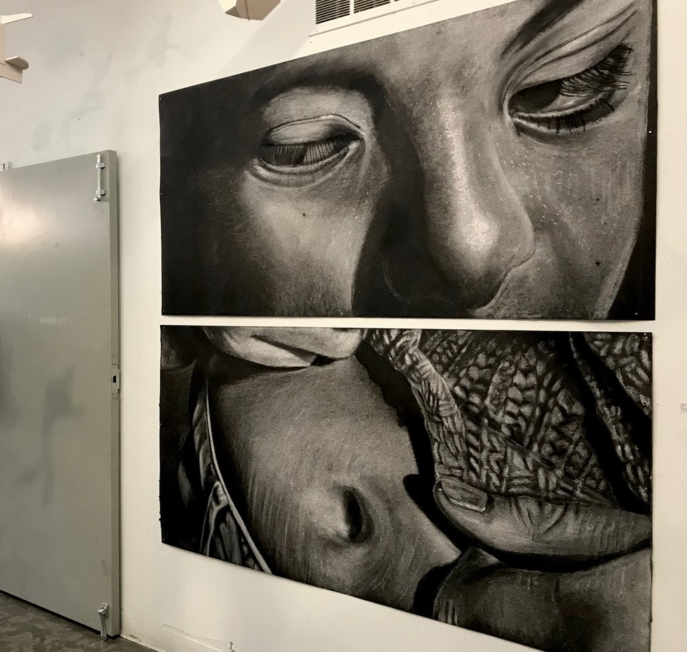 peer portraits- each 3' x 6' white chalk on tarpaper