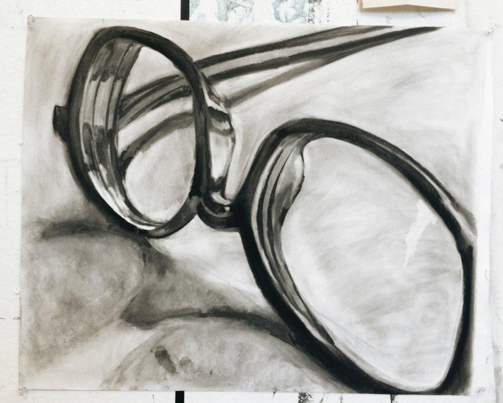 eyeglasses in charcoal 18 x 24
