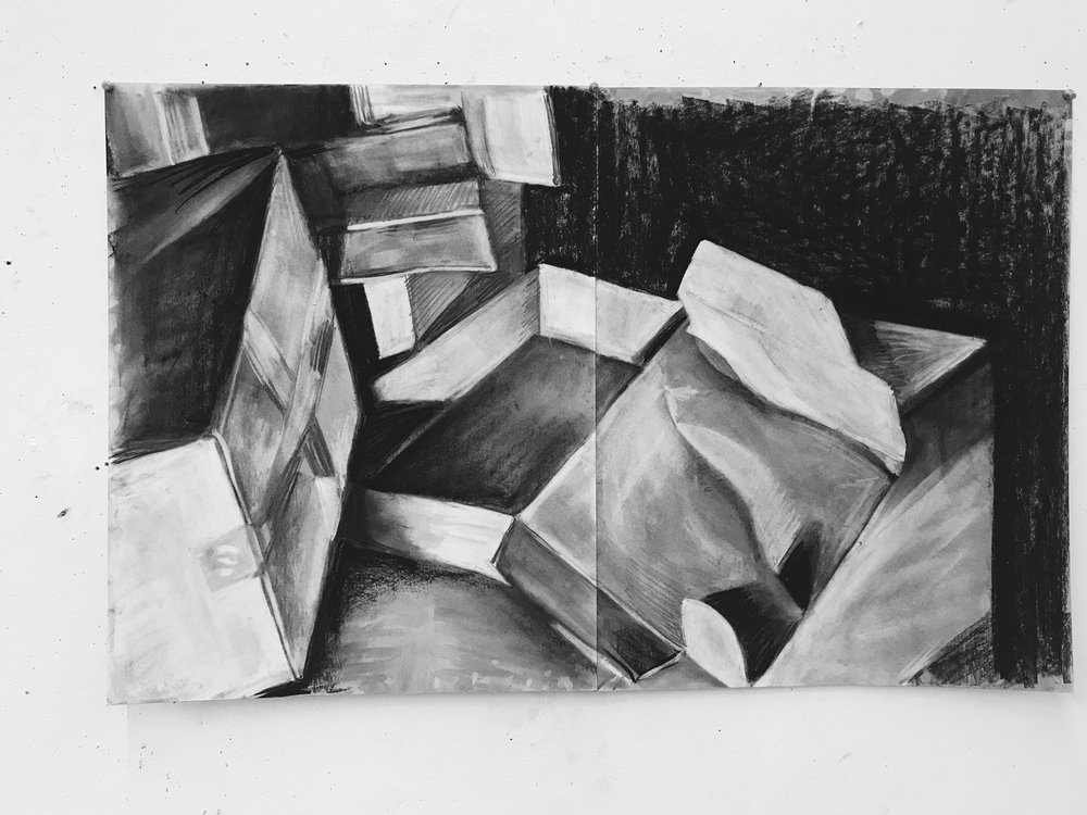 boxes in charcoal 36 x 24