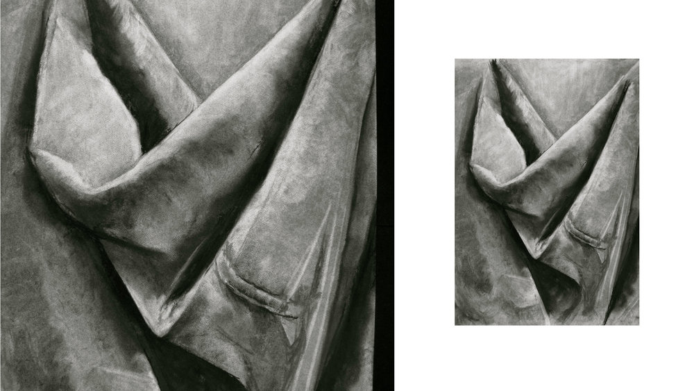 drapery study in charcoal 18 x 24