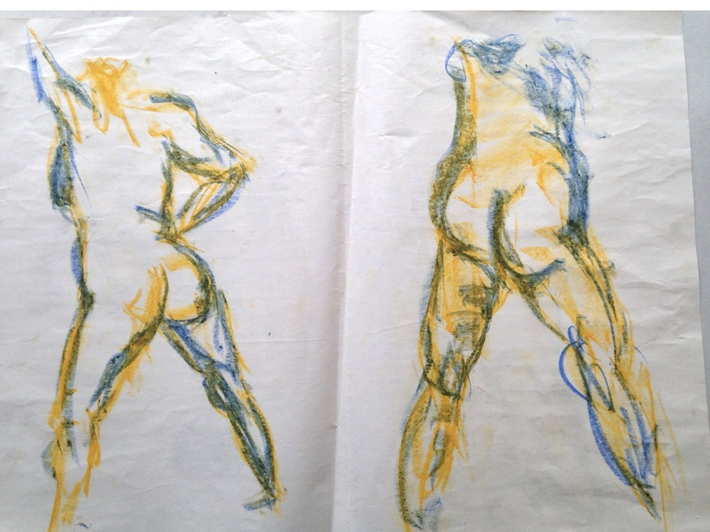 30sec-2min color gestures with oil pastel