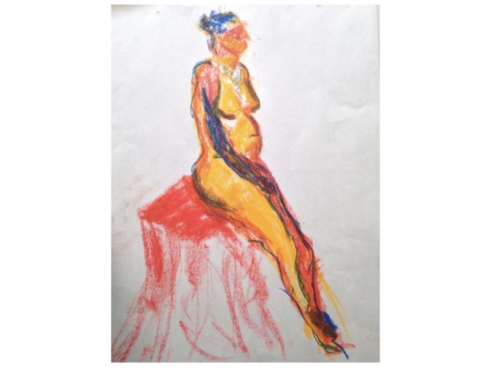 5 min color gestures with oil pastel