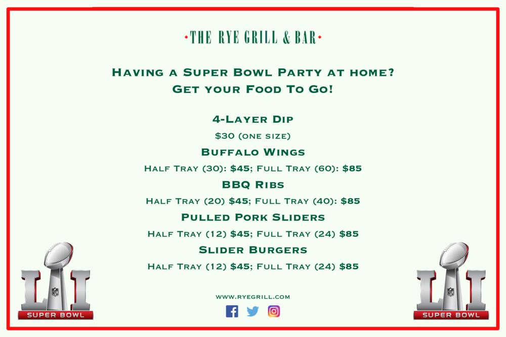 Rye Grill Super Bowl 2