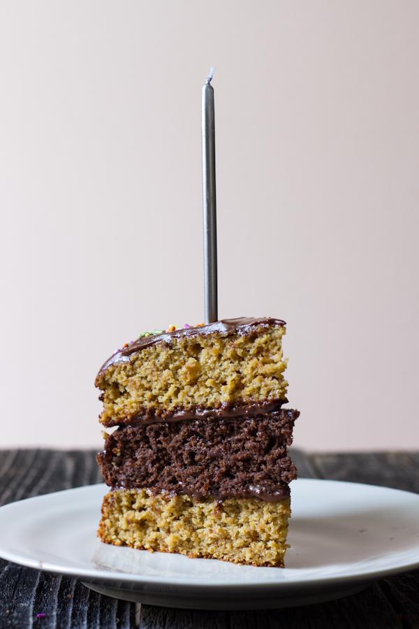triple layer chocolate vanilla birthday cake with chocolate cashew ...