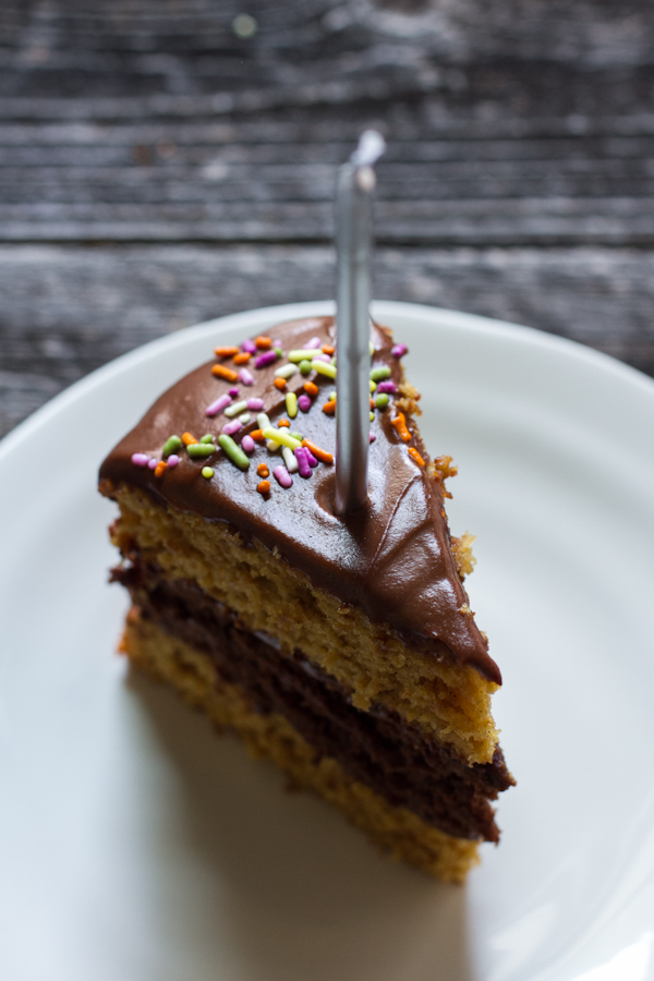 Triple Layer Chocolate Vanilla Birthday Cake With