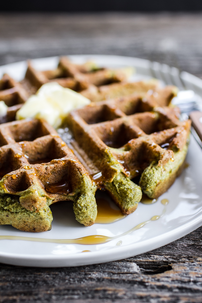 Green Matcha Waffles made with oat + pumpkin seed flour | edibleperspective.com