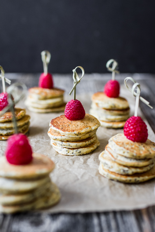 Mini Lemon Poppy Seed Pancakes with Lemon Yogurt + Goat Cheese Sauce | edibleperspective.com
