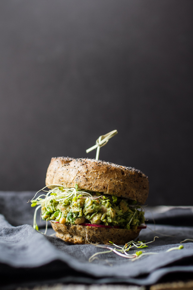 Avocado Pesto Chickpea Salad Sandwiches | edibleperspective.com
