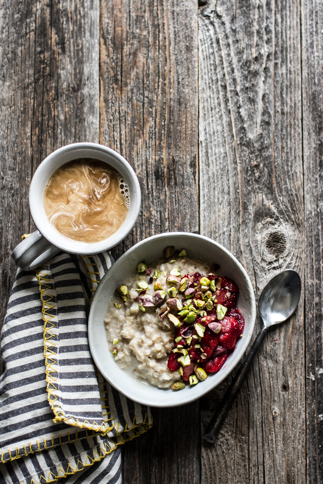Roasted Strawberry Pistachio Oatmeal - recipe from: The Easy Vegetarian Cookbook by Erin Alderson | edibleperspective.com