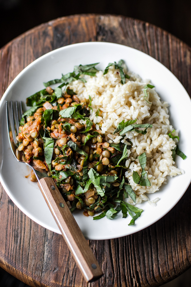 Lentil Stew with Chard - recipe from: The Easy Vegetarian Cookbook by Erin Alderson | edibleperspective.com