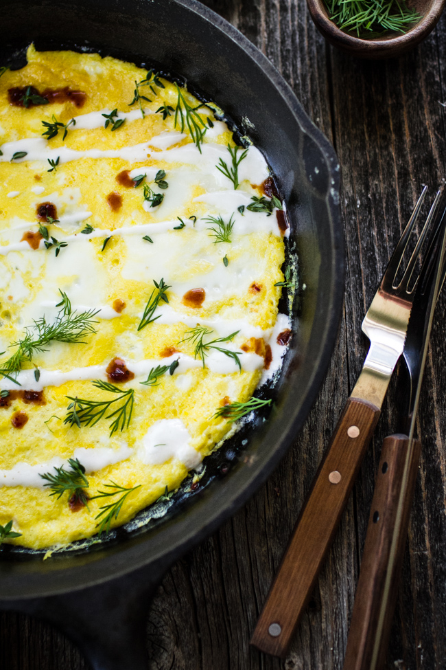 Flat Omelet with Yogurt and Herbs | edibleperspective.com