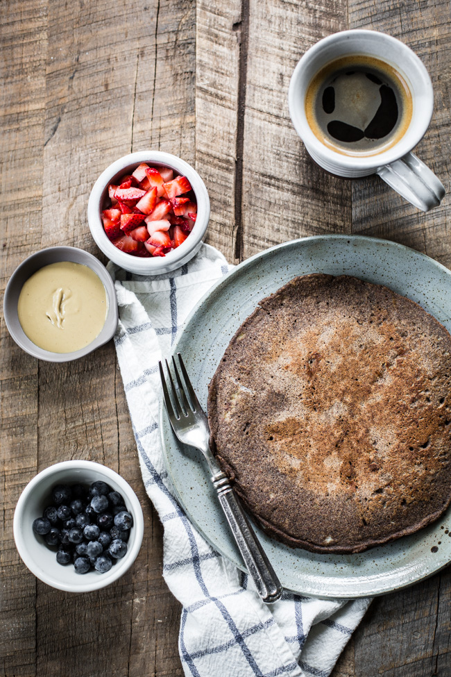 Giant Buckwheat Pancake recipe with fruit toppings + sunbutter | edibleperspective.com