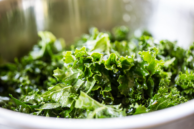 massaged kale for Rainbow Kale Salad | Edible Perspective