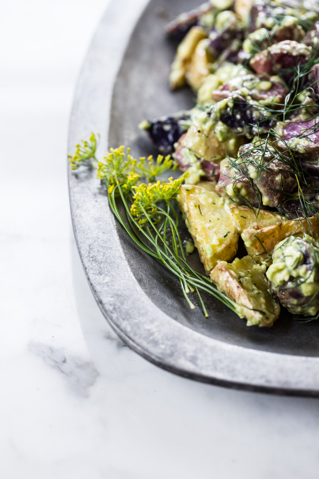 Avocado Dill Vegan Roasted Potato Salad | Edible Perspective