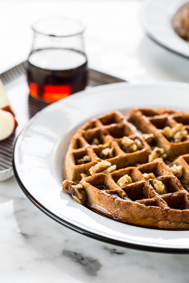 Cinnamon Apple Buckwheat Waffles | edibleperspective.com