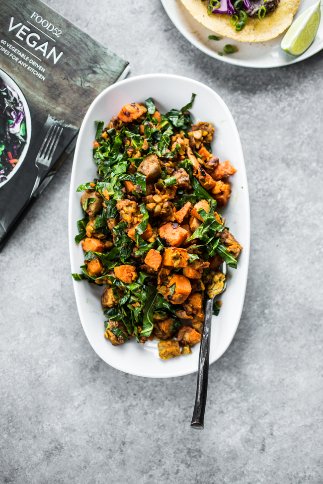 Tempeh and Sweet Potato Hash (recipe by Gena Hamshaw from Food52 Vegan) | edibleperspective.com