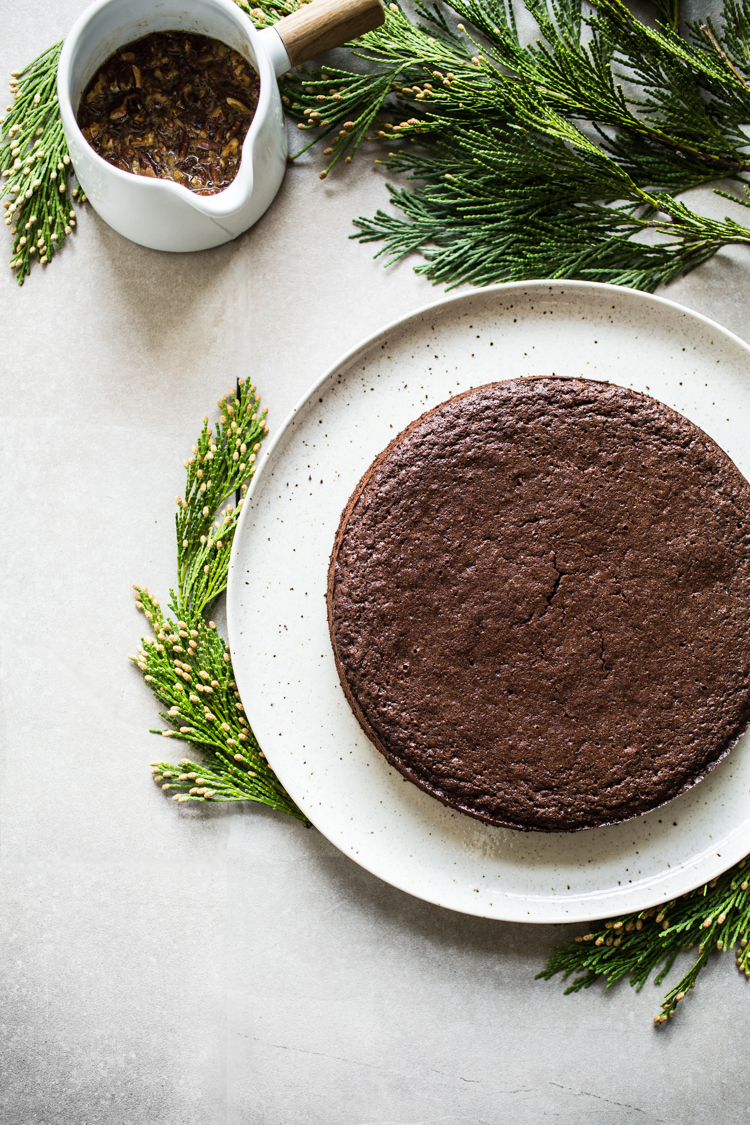 Gluten-free Chocolate Cinnamon Cake with Sweet Pecan Glaze | edibleperspective.com