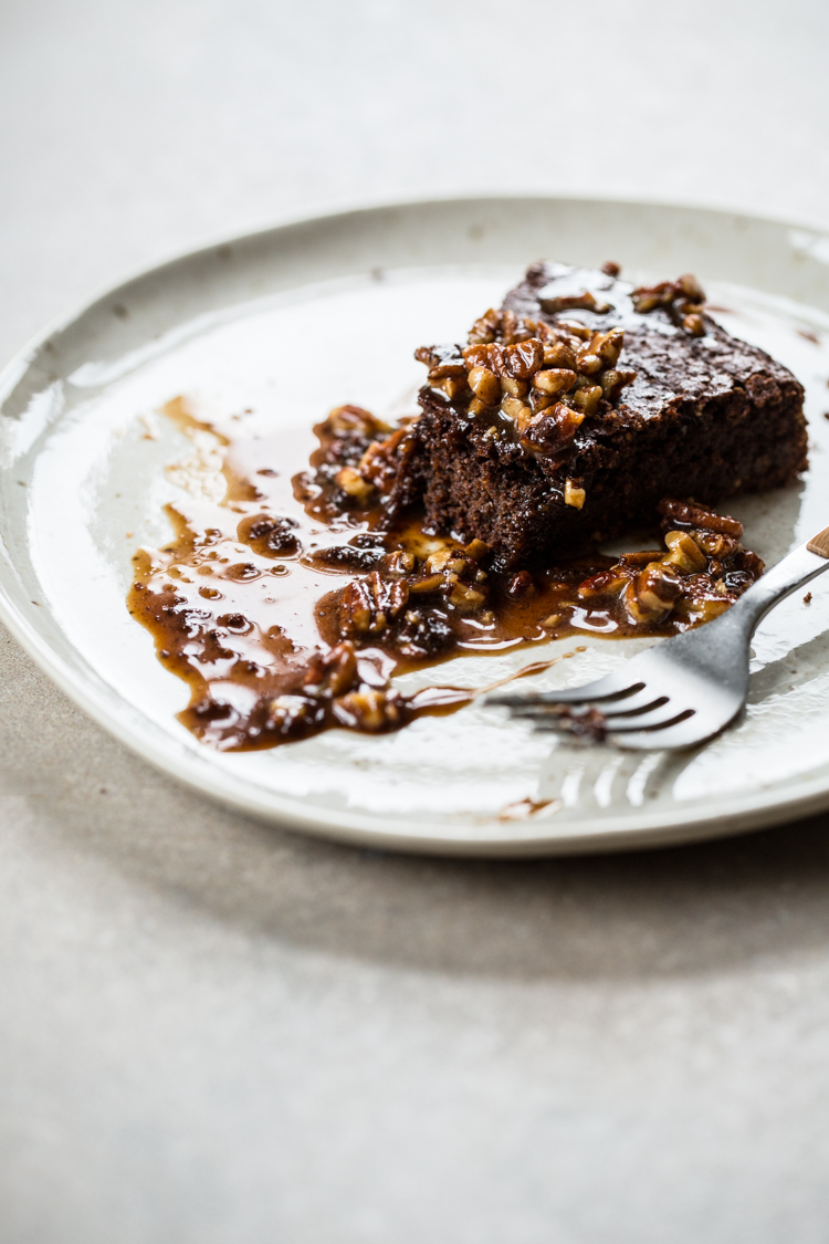 Chocolate Cinnamon Cake with Sweet Pecan Glaze, totally gluten-free! | edibleperspective.com