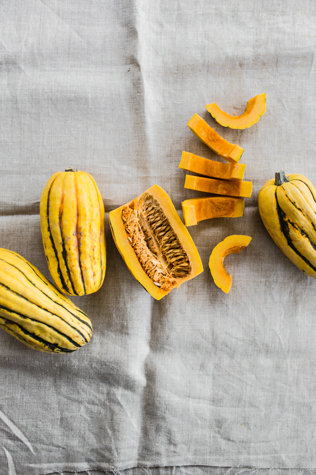 Sliced Delicata Squash for Shredded Kale Salad | edibleperspective.com