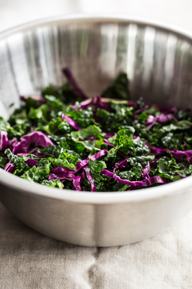 Shredded Kale and Cabbage salad recipe | edibleperspective.com