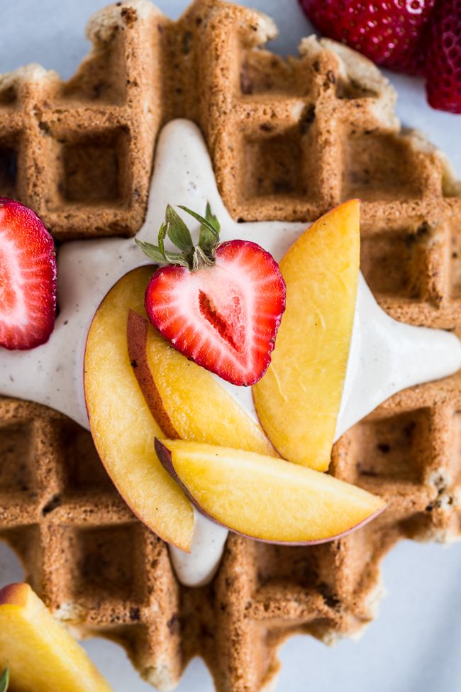 Vegan Vanilla Waffles with Vanilla Maple Cashew Cream | Edible Perspective