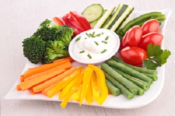 Vegetables and low fat Ranch Dip
