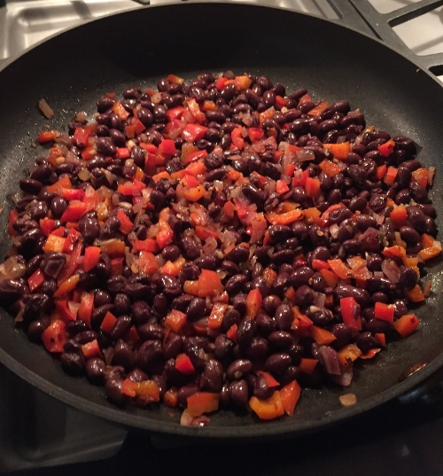 Sauteed red peppers, red onions and black beans