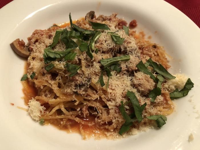 spaghetti squash w. meat sauce