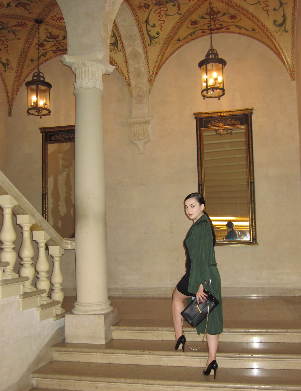 Opj Olga parkers jewelry_Plaza hotel_Fall15_GreenTrenchCoat4767.jpg