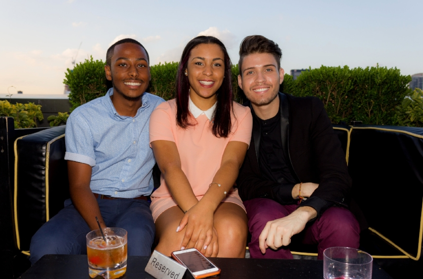 Channel Chebuske, Simon Perez & Guest at OLGA PARKERS LAUNCH  - PHD ROOFTOP Dream Hotel