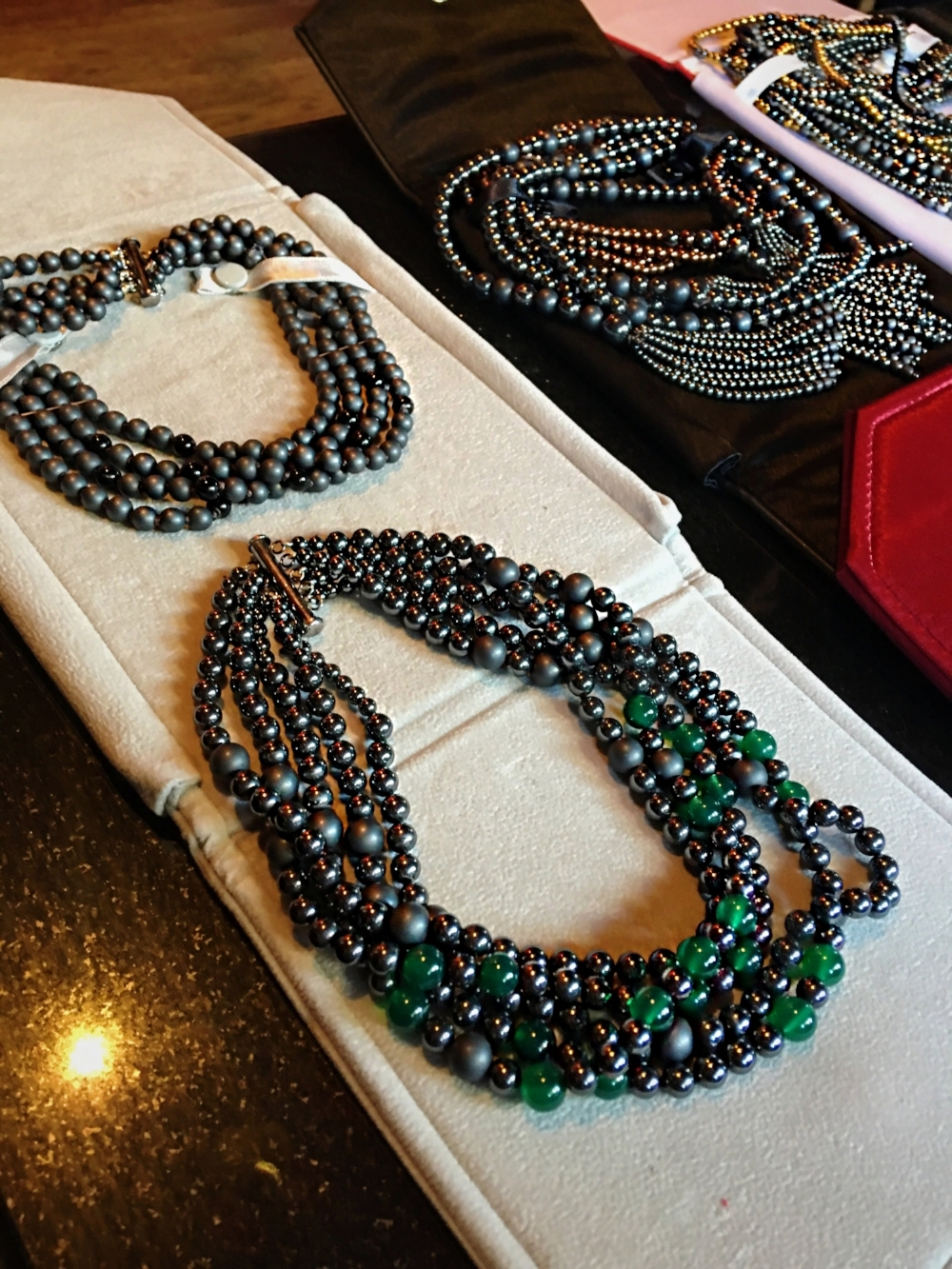olga parkers jewelry nyfw prive hype app fashion events jewelry collection couture fine jewelry hematite bead matte envy green onyx choker necklace