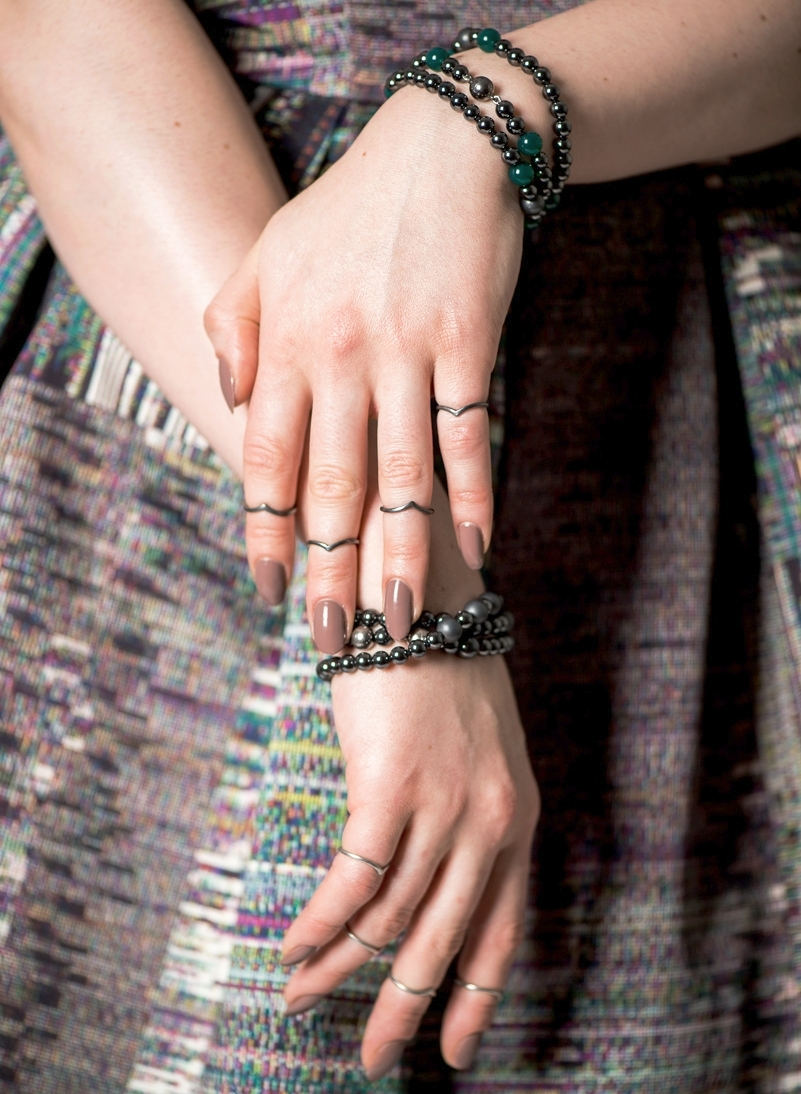 BLACK WIDOW MIDI STACK RINGS  & GOTHIC ASH WRAP BRACELETS