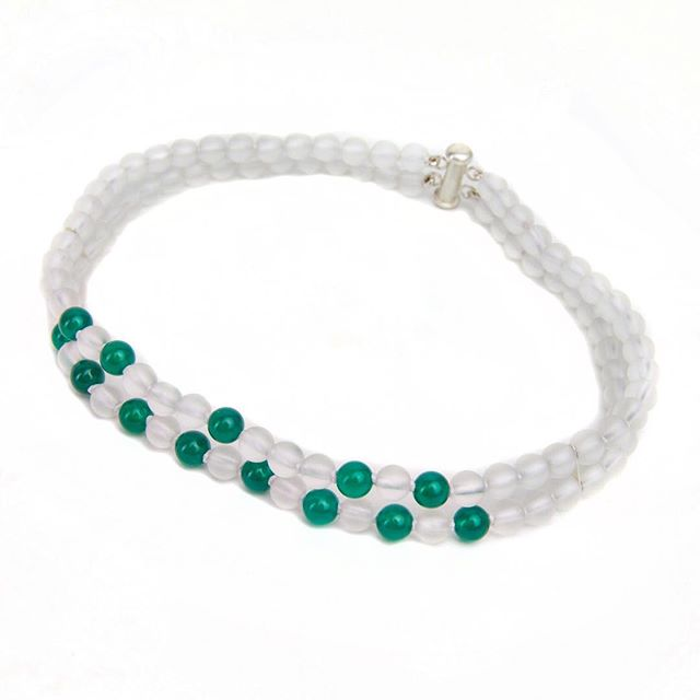 Welcoming Spring wearing the [CLOVER Matte White & Green Onyx Choker]  #OlgaParkersJewelry #clover #LuxuryChoker Shop Dew Choker Collection link in bio💎🍀✨🍀💎