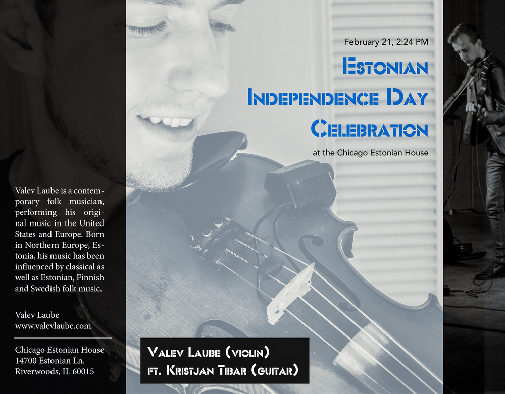 Valev Laube will be performing at the Estonian Independence Day Celebration in Chicago, IL